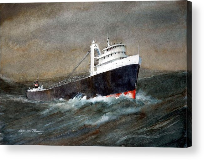Ships Acrylic Print featuring the painting The John J Boland by Charles Rowland