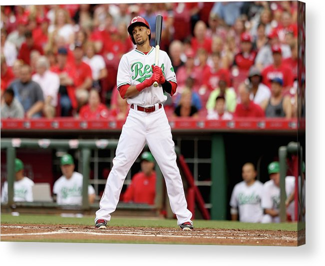 Great American Ball Park Acrylic Print featuring the photograph Todd Frazier and Billy Hamilton by Andy Lyons