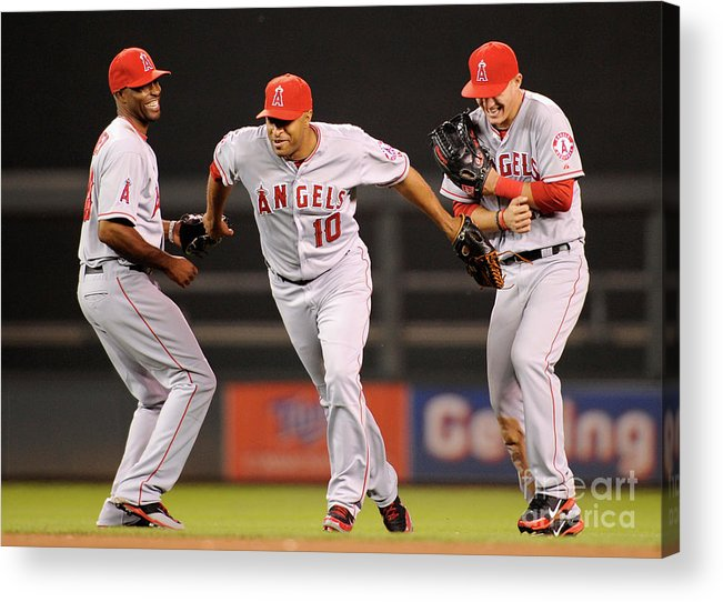 American League Baseball Acrylic Print featuring the photograph Torii Hunter, Vernon Wells, and Mike Trout by Hannah Foslien