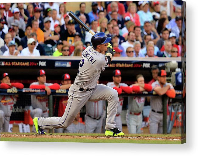 American League Baseball Acrylic Print featuring the photograph Troy Tulowitzki by Rob Carr