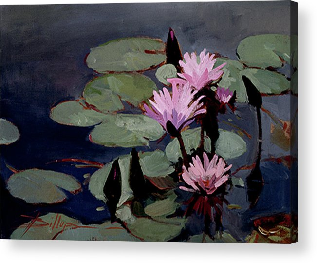 Water Lily Paintings Acrylic Print featuring the painting Water Trio - Water Lilies by Betty Jean Billups