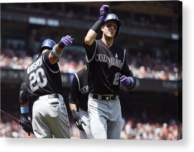 San Francisco Acrylic Print featuring the photograph Wilin Rosario and Troy Tulowitzki by Thearon W. Henderson