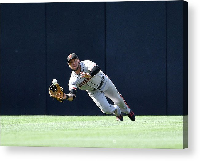 Ball Acrylic Print featuring the photograph Will Venable and Gregor Blanco by Denis Poroy