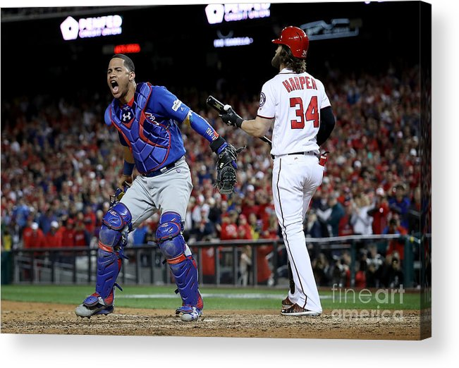 American League Baseball Acrylic Print featuring the photograph Willson Contreras and Bryce Harper by Win Mcnamee
