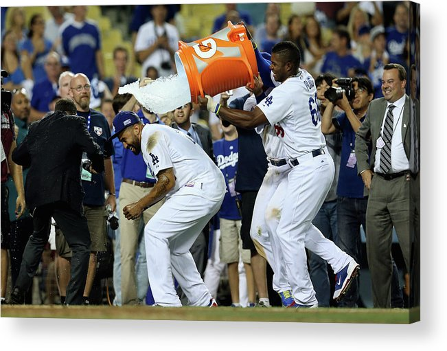 Game Two Acrylic Print featuring the photograph Yasiel Puig and Matt Kemp by Stephen Dunn