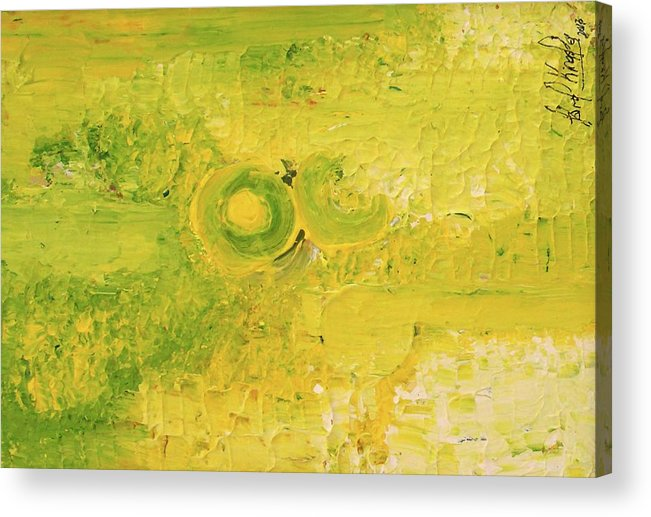In Focus Acrylic Print featuring the painting Yellow dot by Carol P Kingsley