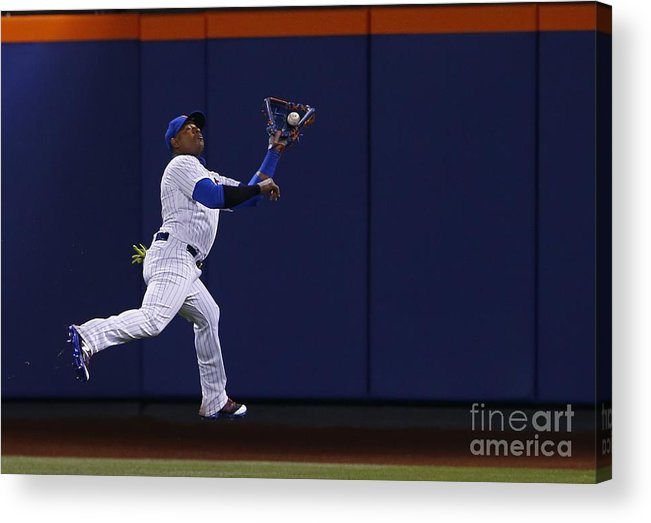 Yoenis Cespedes Acrylic Print featuring the photograph Yoenis Cespedes and Peter Bourjos by Rich Schultz