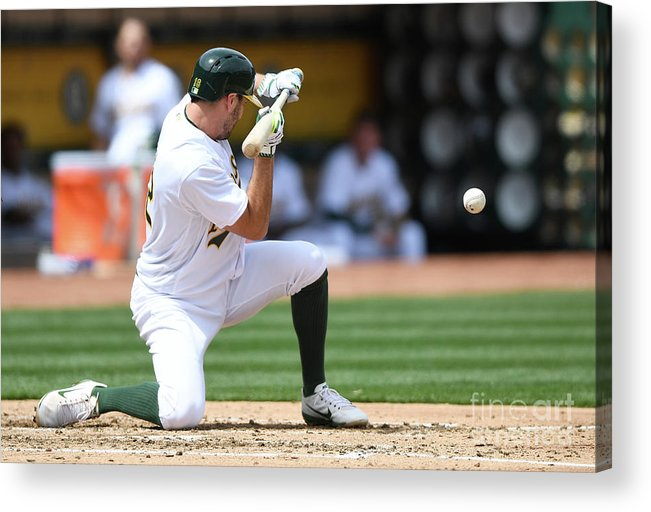Second Inning Acrylic Print featuring the photograph Yonder Alonso and Adam Rosales by Thearon W. Henderson
