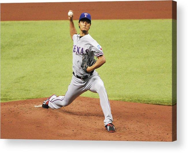 American League Baseball Acrylic Print featuring the photograph Yu Darvish by Al Messerschmidt