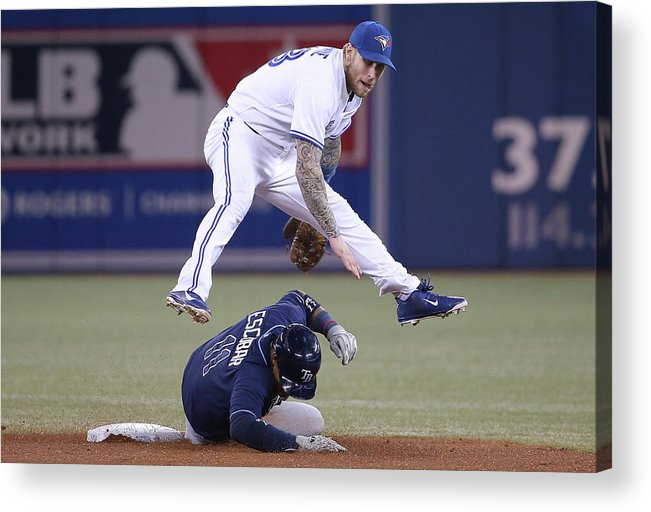 Double Play Acrylic Print featuring the photograph Yunel Escobar and Brett Lawrie by Tom Szczerbowski
