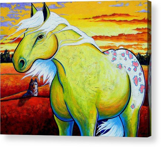 Wildlife Acrylic Print featuring the painting Appaloosa Dawn by Joe Triano