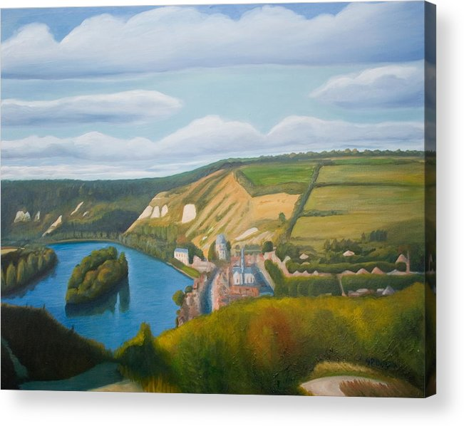 Landscape Acrylic Print featuring the painting View of the Seine from Les Andelys by Stephen Degan