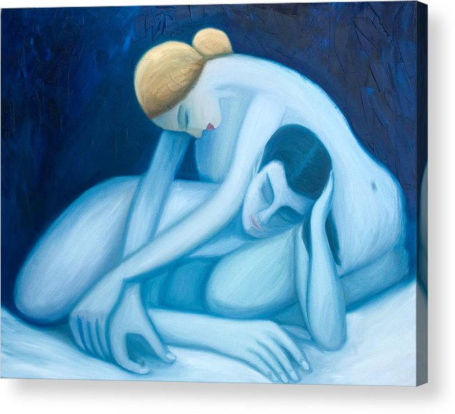 Figures Acrylic Print featuring the painting Blue Harmony by Stephen Degan