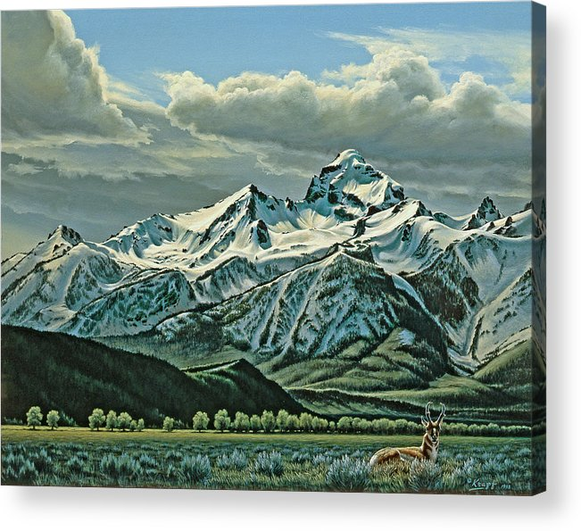 Landscape Acrylic Print featuring the painting Buck Mountain from Antelope Flat by Paul Krapf