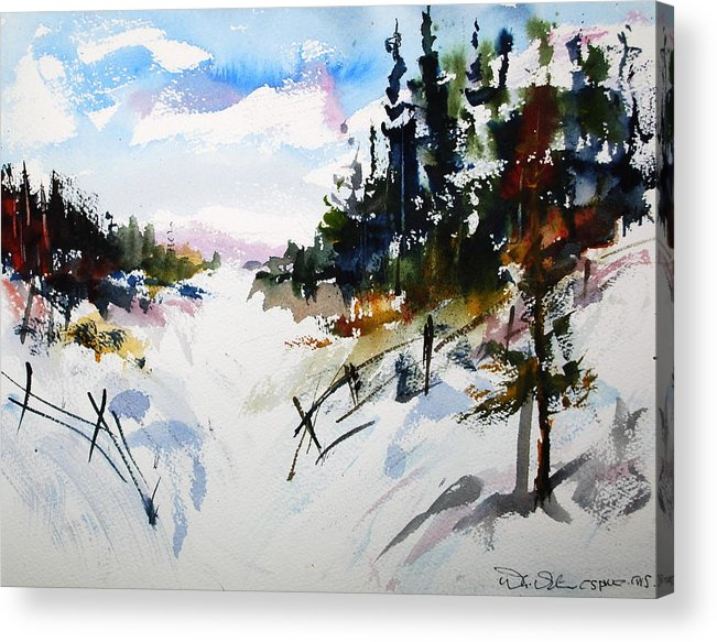 Snow Winter Scene Landscapes Forests Countryside Acrylic Print featuring the painting Hockley Valley Snows by Wilfred McOstrich