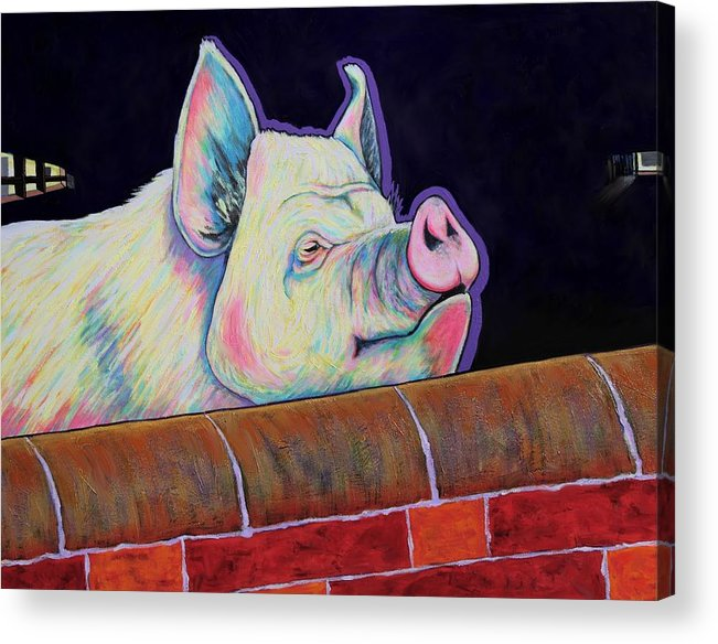 Pig Acrylic Print featuring the painting In My Mind I'm Gone to Carolina by Joe Triano