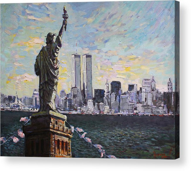 New York City Acrylic Print featuring the painting Liberty by Ylli Haruni