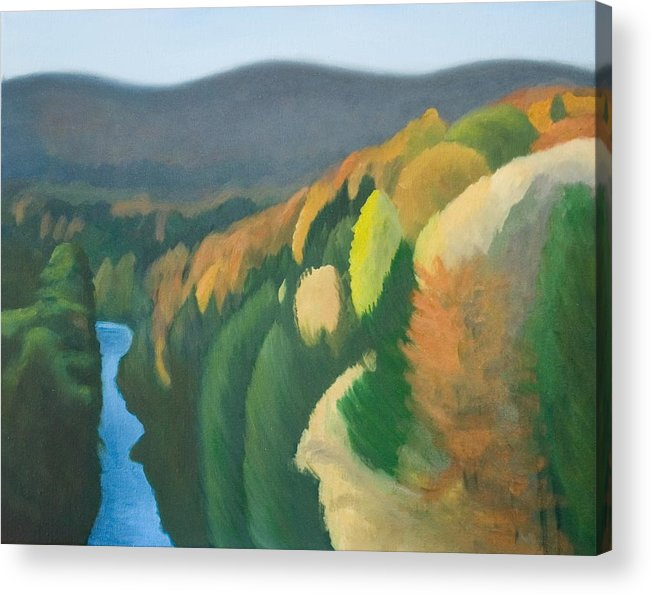 Landscape Acrylic Print featuring the painting Quechee Gorge by Stephen Degan