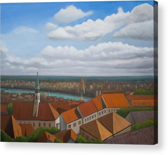 Landscape Acrylic Print featuring the painting Vienna Rooftops by Stephen Degan