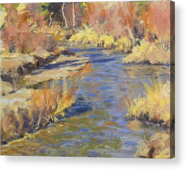 Landscape Acrylic Print featuring the painting Autumn Stream by Greg Clibon