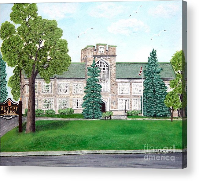 School Paining Acrylic Print featuring the painting Albert College by Peggy Holcroft