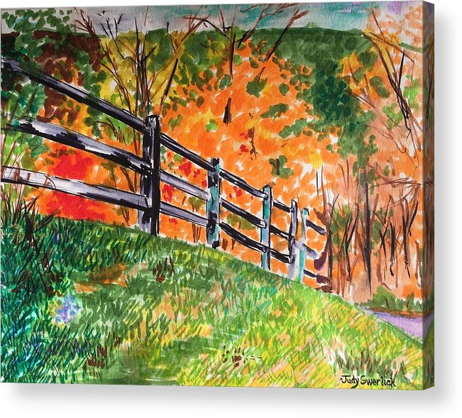 Autumn Acrylic Print featuring the painting An Autumn Stroll in the Woods by Judy Swerlick