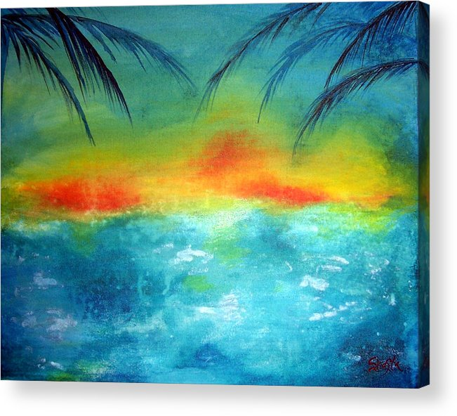 Vivid Contemporary Seascape Acrylic Print featuring the painting Caribbean Dreams by Shasta Miller