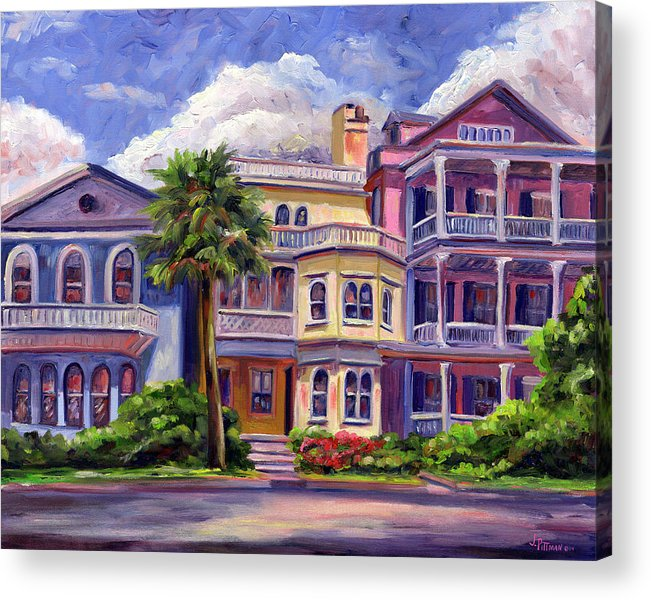 Colorful Historic Houses On The Charleston South Battery With Pastel Color And Blue Skies.. Acrylic Print featuring the painting Charleston Houses by Jeff Pittman