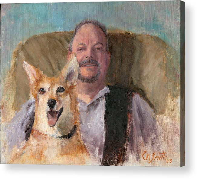 Portraits Acrylic Print featuring the painting Dans Best Friend by Chris Neil Smith