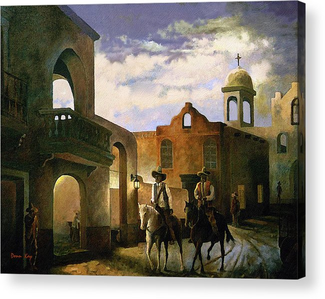 Texas New Mexico Cowboy Southwest 1800 Acrylic Print featuring the painting Dos Amigos by Donn Kay