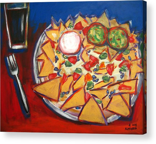 Food Acrylic Print featuring the painting Extra Guacamole by Albert Almondia