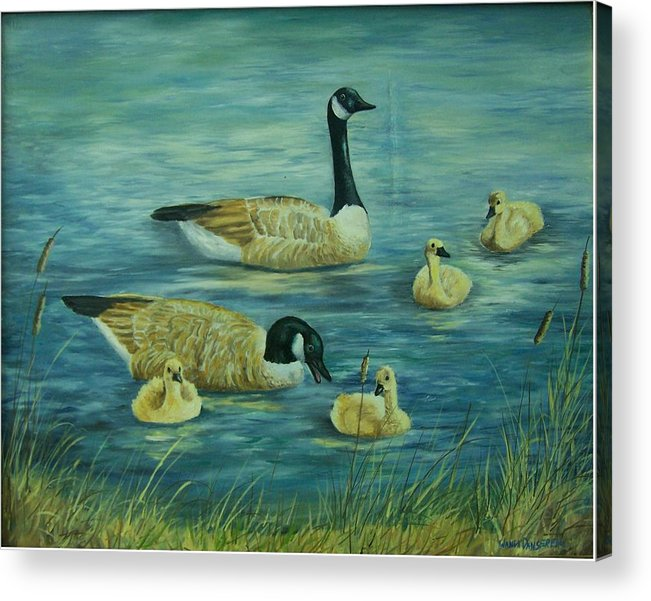 A Pair Of Mallards Acrylic Print featuring the painting First Lesson by Wanda Dansereau