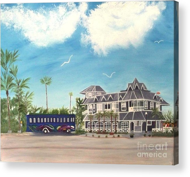 Florida Painting Acrylic Print featuring the painting Hurricane Restaurant Pass A Grill Florida by Peggy Holcroft