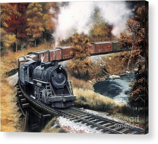 Train Painting Railroad Maryland And Pennsylvania Autumn Fall Colors Steam Engine Acrylic Print featuring the painting MaPa by David Mittner