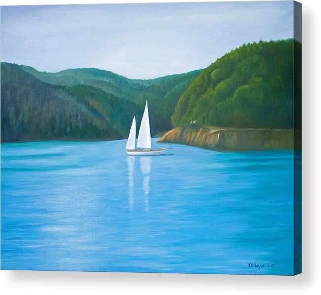 Seascape Acrylic Print featuring the painting Mason's Sailboat by Stephen Degan