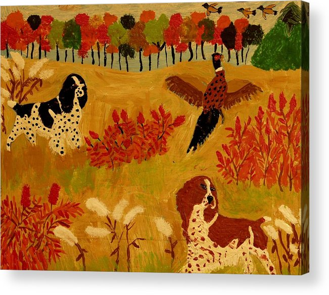 Canines Acrylic Print featuring the painting Rough Cover by Betty J Roberts