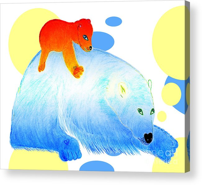 Bears Acrylic Print featuring the painting Ruby and Apple by Tess M J Iroldi
