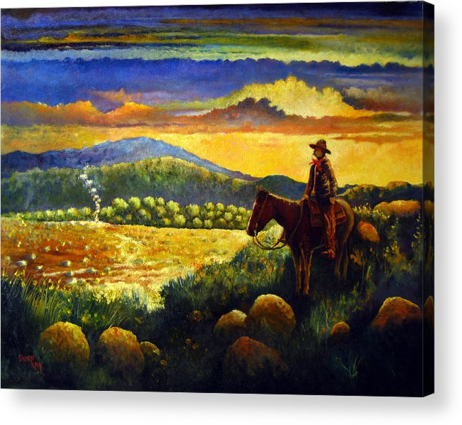 Texas New Mexico Cowboy Lawman Indians Mountains Sky Rocks 1880 Southwest Landscapes Giclee Prints Acrylic Print featuring the painting Smoke Signals by Donn Kay