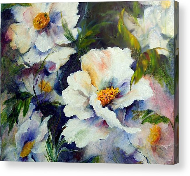 Oil Acrylic Print featuring the painting White Beauties by Elaine Bailey
