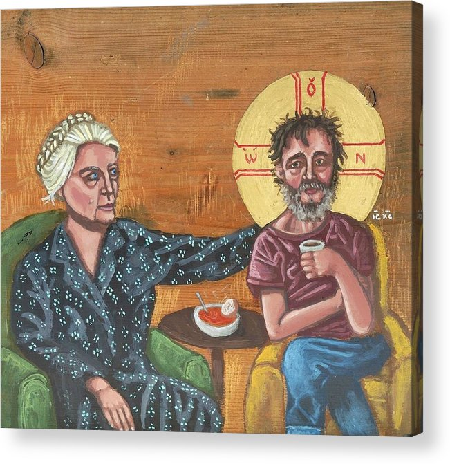 Dorothy Day Acrylic Print featuring the painting Don't Call Me a Saint- Dorothy day with Homeless Christ by Kelly Latimore