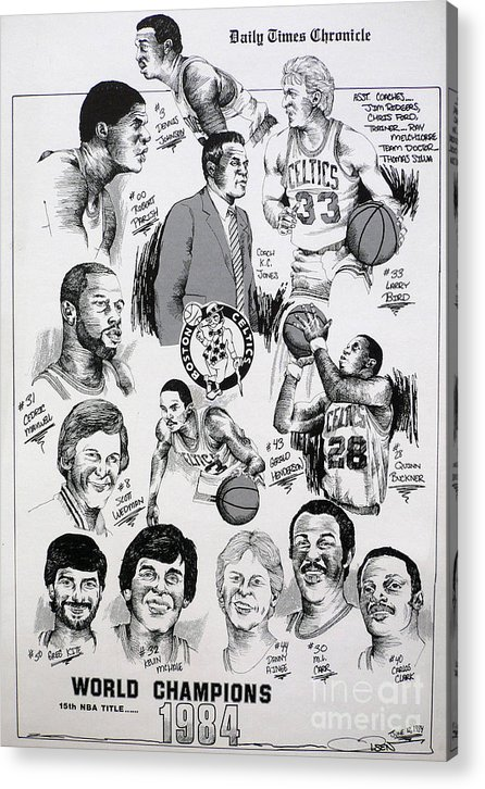 Nba Acrylic Print featuring the drawing 1984 Boston Celtics Championship Newspaper Poster by Dave Olsen