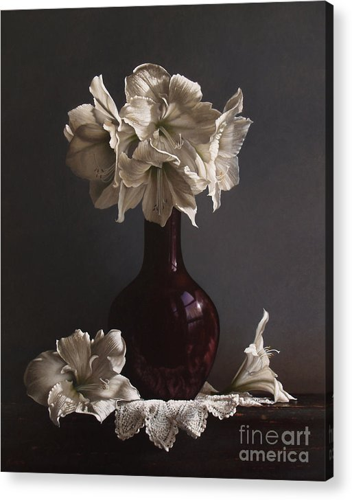 Still Life Acrylic Print featuring the painting Amaryllis by Lawrence Preston