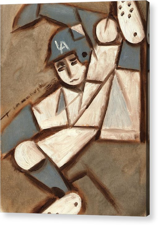 Los Angeles Dodgers Acrylic Print featuring the painting Cubism La Dodgers Baserunner Painting by Tommervik