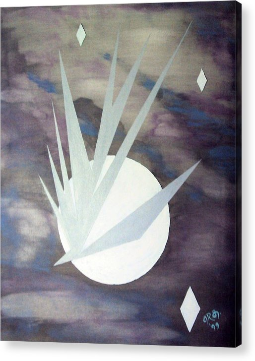 Moon With Hawke And Diamond Stars Acrylic Print featuring the painting Night Hawke 2 by J R Seymour