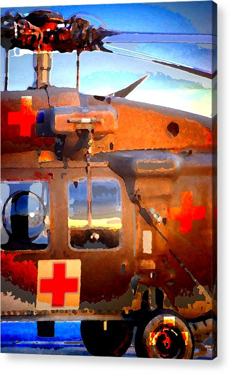 Acrylic Print featuring the digital art Helicopter by Danielle Stephenson