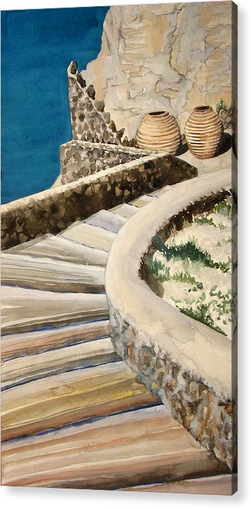 Watercolor Acrylic Print featuring the painting Greekscape 3 by Caron Sloan Zuger