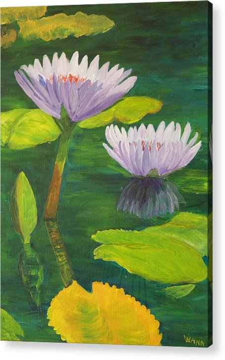 Flower Acrylic Print featuring the painting Water Lilies by Anita Wann
