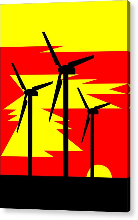 Windmill Sunrise Acrylic Print featuring the digital art Windmill Sunrise by Asbjorn Lonvig