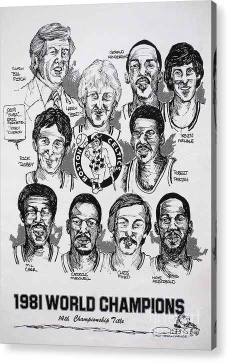 Nba Acrylic Print featuring the drawing 1981 Boston Celtics Championship Newspaper Poster by Dave Olsen
