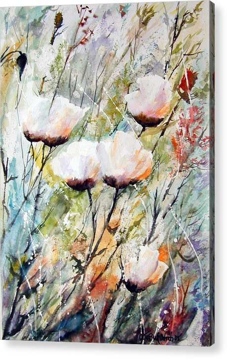 Floral Acrylic Print featuring the painting Blowing In The Wind by Wilfred McOstrich